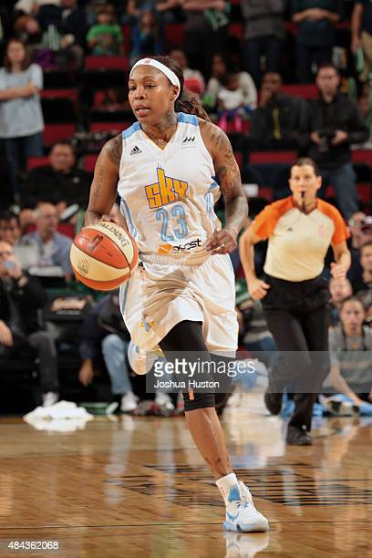 Cappie Pondexter of the Chicago Sky handles the ball against the Seattle Storm on August 14 2015 at Key Arena in Seattle Washington NOTE TO USER User...