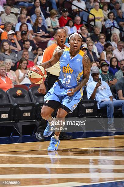 Cappie Pondexter of the Chicago Sky handles the ball against the Connecticut Sun in a WNBA game on July 2 2015 at the Mohegan Sun Arena in Uncasville...