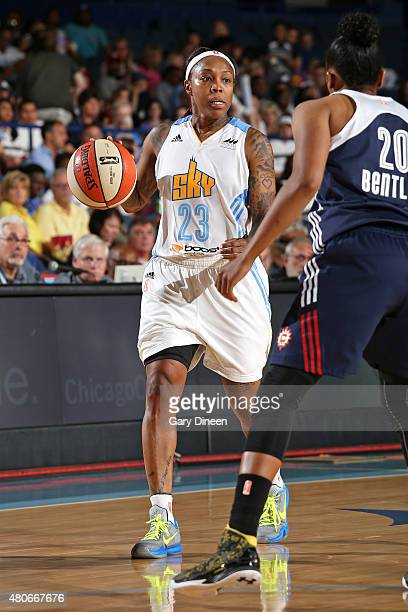 Cappie Pondexter of the Chicago Sky handles the ball against the Connecticut Sun on July 12 2015 at the Allstate Arena in Rosemont Illinois NOTE TO...