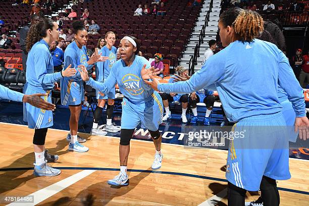 Cappie Pondexter of the Chicago Sky is introduced before the game against the Los Angeles Sparks on May 27 2015 at Mohegan Sun in Uncasville...