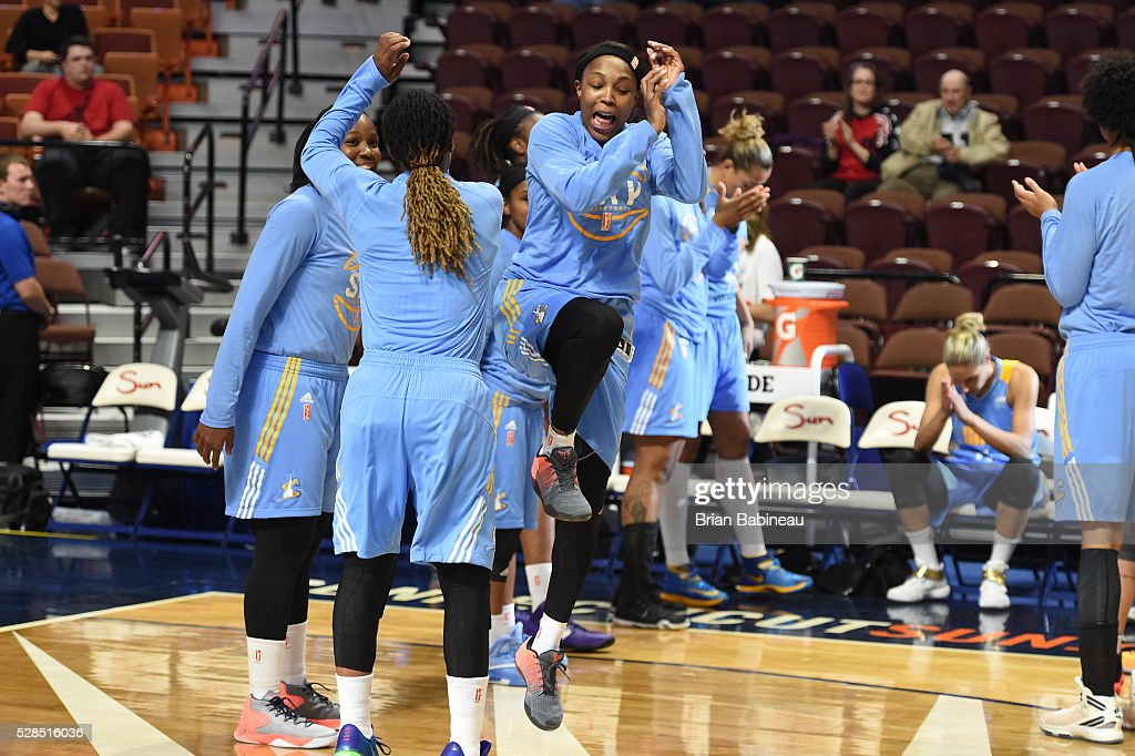 Cappie Pondexter #23 of the Chicago Sky is introduced before the game against the Atlanta Dream in a WNBA preseason game on May 5, 2016 at the Mohegan Sun Arena in Uncasville, Connecticut.
