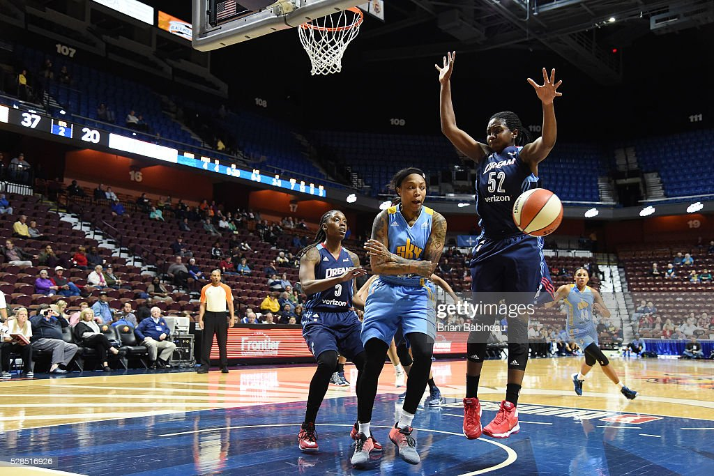 Cappie Pondexter #23 of the Chicago Sky passes the ball against the Atlanta Dream in a WNBA preseason game on May 5, 2016 at the Mohegan Sun Arena in Uncasville, Connecticut.