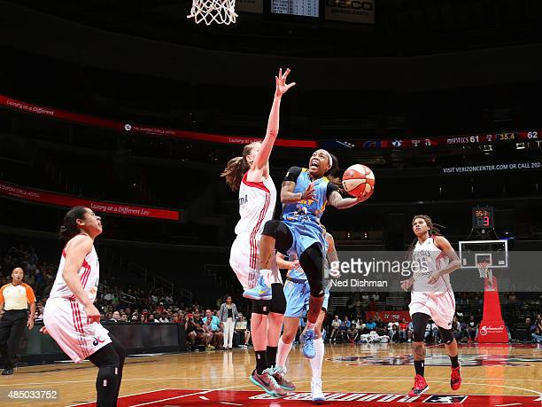 Cappie Pondexter of the Chicago Sky shoots the ball against Washington Mystics on August 23 2015 at the Verizon Center in Washington DC NOTE TO USER...