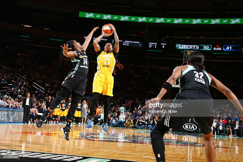 Cappie Pondexter #23 of the Chicago Sky shoots the ball against the New York Liberty on June 24, 2016 at Madison Square Garden in New York, New York.