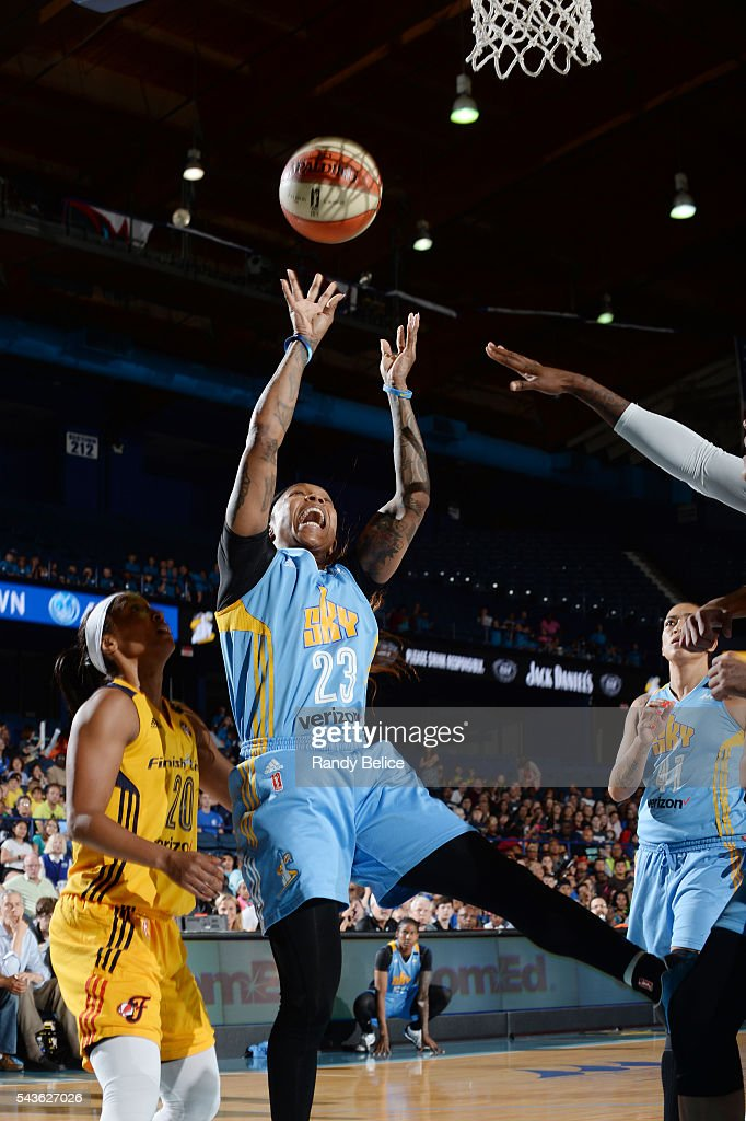 <a gi-track='captionPersonalityLinkClicked' href=/galleries/search?phrase=Cappie+Pondexter&family=editorial&specificpeople=544600 ng-click='$event.stopPropagation()'>Cappie Pondexter</a> #23 of the Chicago Sky shoots the ball against the Indiana Fever on June 29, 2016 at Allstate Arena in Rosemont, IL.