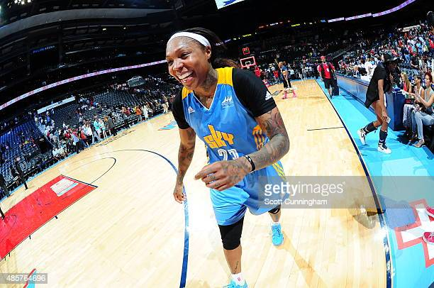 Cappie Pondexter of the Chicago Sky walks off the court after a win against the Atlanta Dream on August 29 2015 at Philips Arena in Atlanta Georgia...
