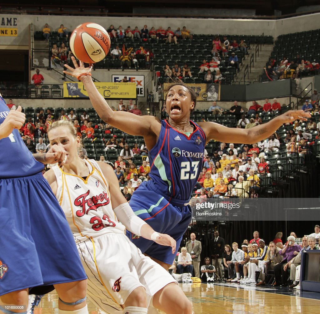 Cappie Pondexter #23 of the New York Liberty battles Katie Douglas #23 of the Indiana Fever at Conseco Fieldhouse on June 5, 2010 in Indianapolis, Indiana. The Fever defeated the Liberty 78-73.