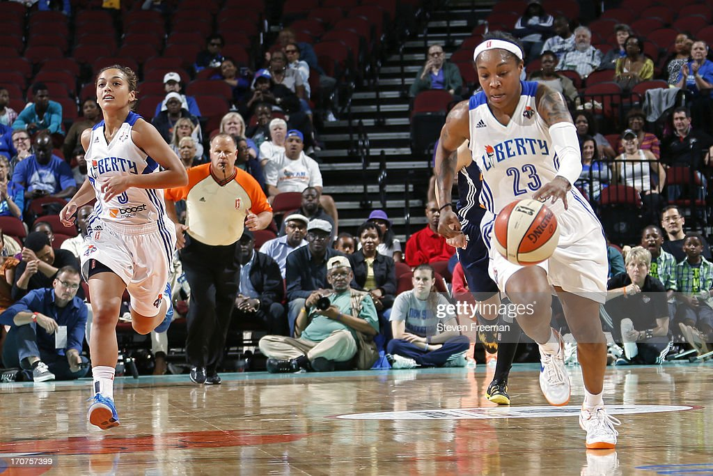 <a gi-track='captionPersonalityLinkClicked' href=/galleries/search?phrase=Cappie+Pondexter&family=editorial&specificpeople=544600 ng-click='$event.stopPropagation()'>Cappie Pondexter</a> #23 of the New York Liberty brings the ball up court during the game against the Connecticut Sun on June 14, 2013, at the Prudential Center in Newark, New Jersey NJ, June 14, 2013.