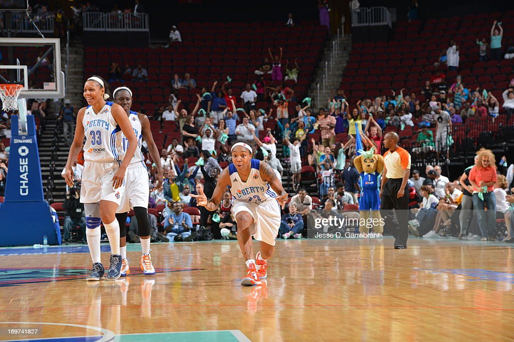 <a gi-track='captionPersonalityLinkClicked' href=/galleries/search?phrase=Cappie+Pondexter&family=editorial&specificpeople=544600 ng-click='$event.stopPropagation()'>Cappie Pondexter</a> #23 of the New York Liberty celebrates after hitting the game winning shot against the Tulsa Shock on May 31, 2013 at Prudential Center in Newark, New Jersey.