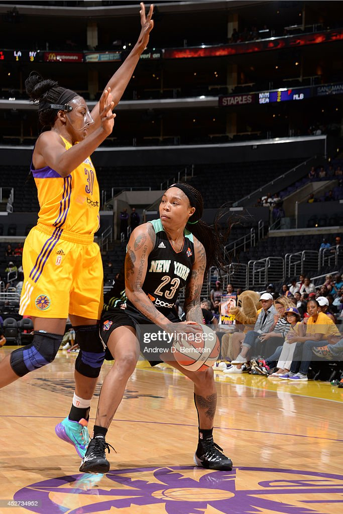 <a gi-track='captionPersonalityLinkClicked' href=/galleries/search?phrase=Cappie+Pondexter&family=editorial&specificpeople=544600 ng-click='$event.stopPropagation()'>Cappie Pondexter</a> #23 of the New York Liberty controls the ball against the Los Angeles Sparks at STAPLES Center on July 23, 2014 in Los Angeles, California.