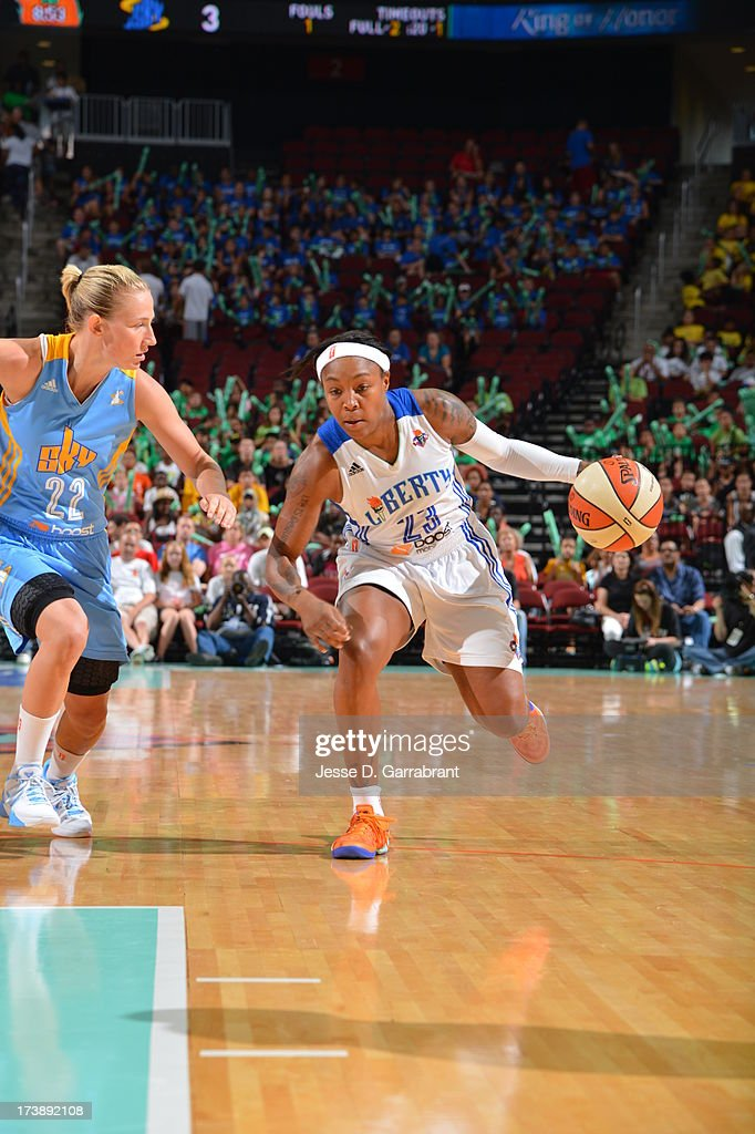 <a gi-track='captionPersonalityLinkClicked' href=/galleries/search?phrase=Cappie+Pondexter&family=editorial&specificpeople=544600 ng-click='$event.stopPropagation()'>Cappie Pondexter</a> #23 of the New York Liberty drives against the Chicago Sky during the game on July 18, 2013 at Prudential Center in Newark, New Jersey.