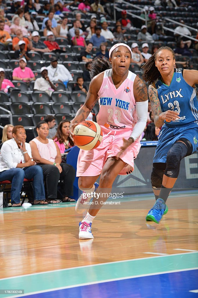 Cappie Pondexter #23 of the New York Liberty drives against the Minnesota Lynx during the game on August 27, 2013 at Prudential Center in Newark, New Jersey.