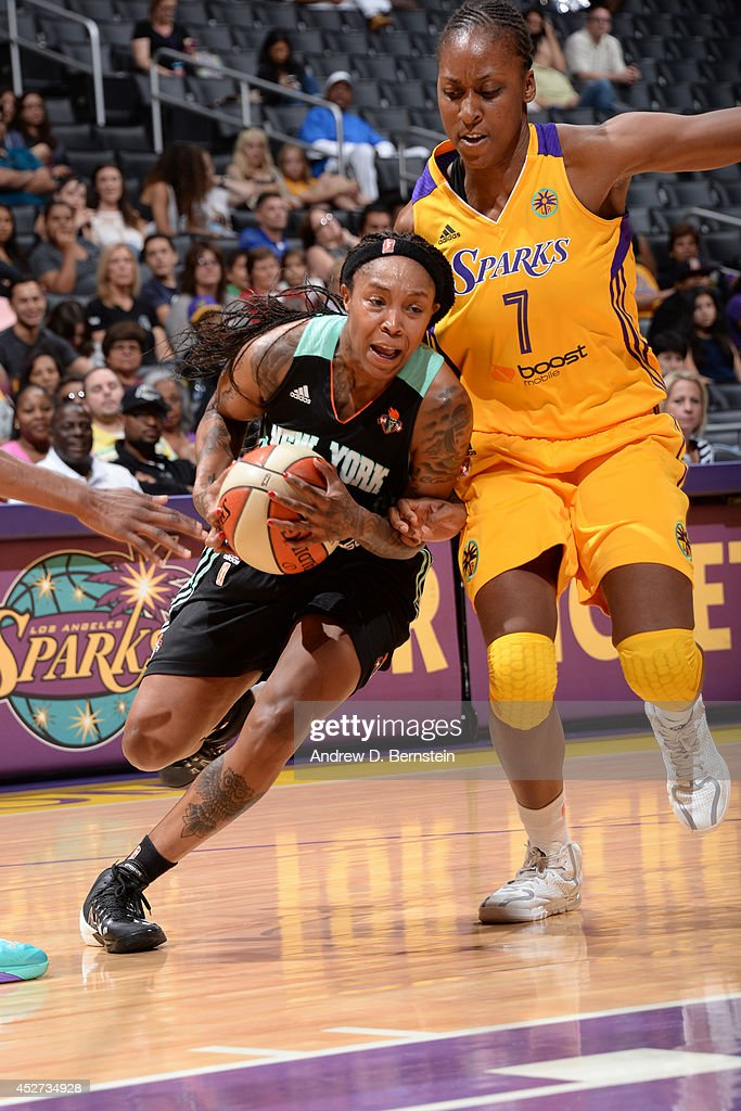 <a gi-track='captionPersonalityLinkClicked' href=/galleries/search?phrase=Cappie+Pondexter&family=editorial&specificpeople=544600 ng-click='$event.stopPropagation()'>Cappie Pondexter</a> #23 of the New York Liberty drives to the basket against the Los Angeles Sparks at STAPLES Center on July 23, 2014 in Los Angeles, California.