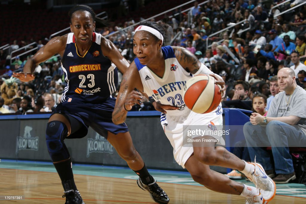 <a gi-track='captionPersonalityLinkClicked' href=/galleries/search?phrase=Cappie+Pondexter&family=editorial&specificpeople=544600 ng-click='$event.stopPropagation()'>Cappie Pondexter</a> #23 of the New York Liberty drives to the basket during the game against the Connecticut Sun on June 14, 2013, at the Prudential Center in Newark, New Jersey NJ, June 14, 2013.