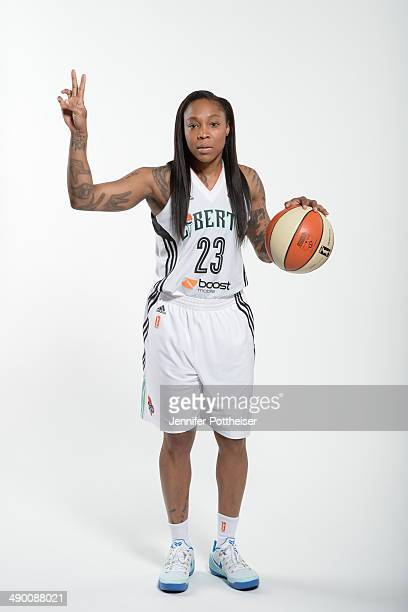 Cappie Pondexter of the New York Liberty poses for a portrait during 2014 WNBA Media Day at the MSG Training Facility on May 12 2014 in Tarrytown New...