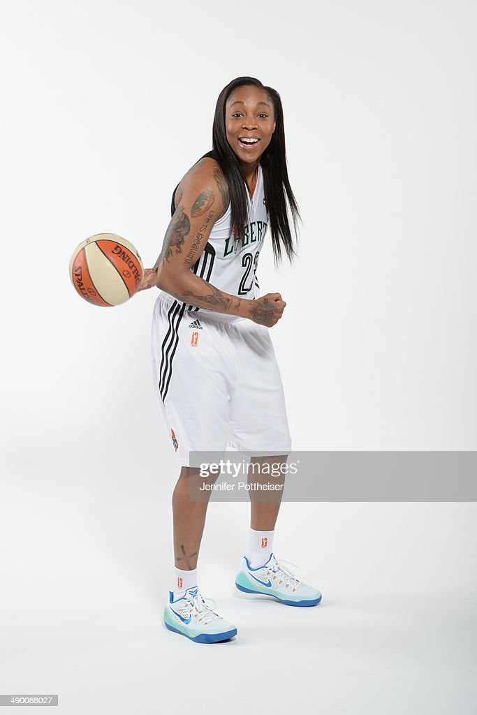 Cappie Pondexter #23 of the New York Liberty poses for a portrait during 2014 WNBA Media Day at the MSG Training Facility on May 12, 2014 in Tarrytown, New York.