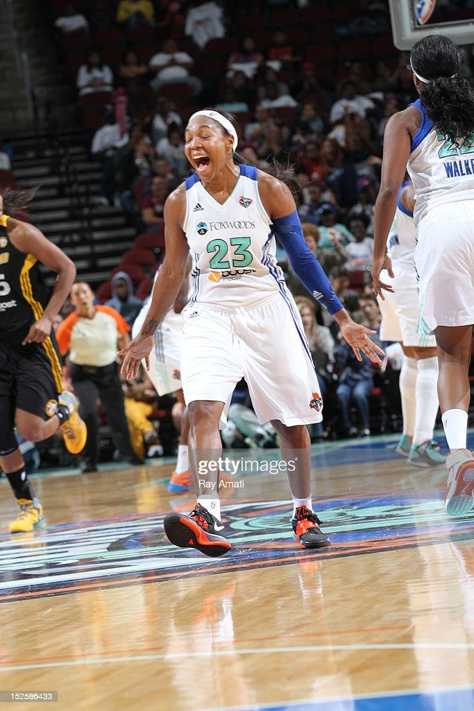 <a gi-track='captionPersonalityLinkClicked' href=/galleries/search?phrase=Cappie+Pondexter&family=editorial&specificpeople=544600 ng-click='$event.stopPropagation()'>Cappie Pondexter</a> #23 of the New York Liberty reacts to their win Courtney Paris #3 of the Tulsa Shock on September 22, 2012 at the Prudential Center in Newark, New Jersey.