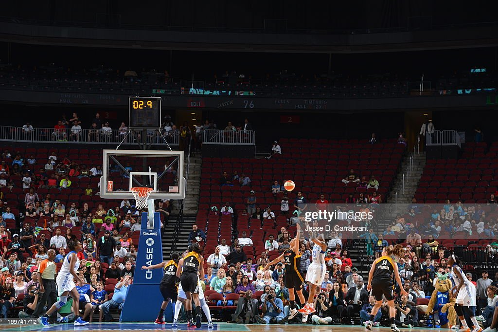 <a gi-track='captionPersonalityLinkClicked' href=/galleries/search?phrase=Cappie+Pondexter&family=editorial&specificpeople=544600 ng-click='$event.stopPropagation()'>Cappie Pondexter</a> #23 of the New York Liberty shoots the game winning shot against the Tulsa Shock during the game on May 31, 2013 at Prudential Center in Newark, New Jersey.