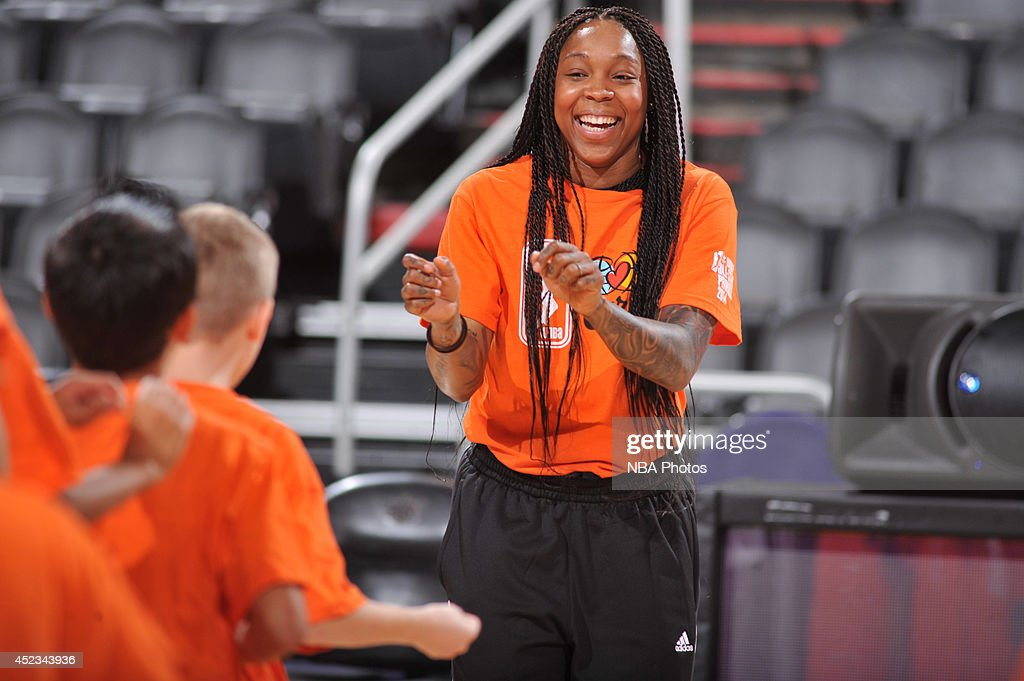 <a gi-track='captionPersonalityLinkClicked' href=/galleries/search?phrase=Cappie+Pondexter&family=editorial&specificpeople=544600 ng-click='$event.stopPropagation()'>Cappie Pondexter</a> #23 of the New York Liberty smiles during a WNBA All-Star Cares event on July 18, 2014 at US Airways Center in Phoenix, Arizona.
