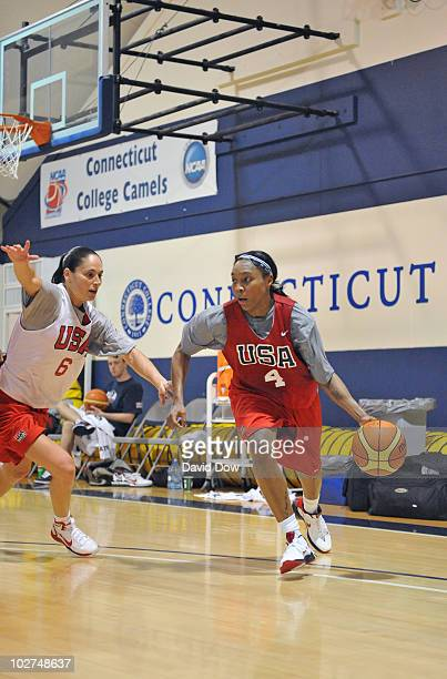 Cappie Pondexter of the Women's USA Basketball Team dribbles as Sue Bird defends during the National Team Summer Training Camp on July 8 2010 at the...