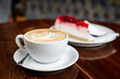 Cappuccino and cheesecake