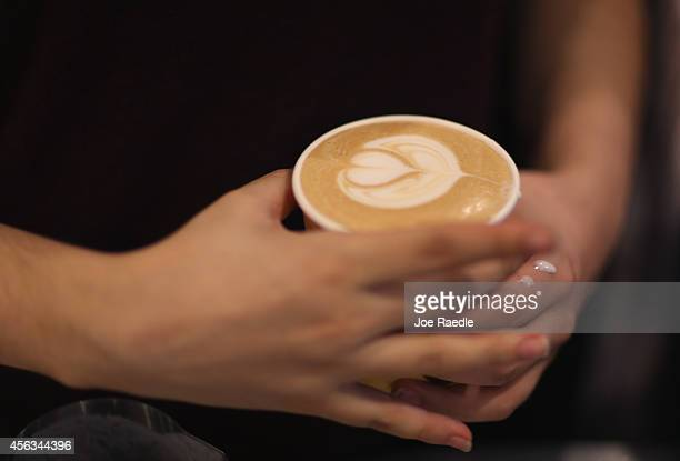 A cappuccino coffee is seen at Eternity Coffee Roasters during National Coffee Day on September 29 2014 in Miami Florida The day is for coffee...