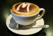 A cappuccino is seen on display at the opening of a new McCafe coffeehouse December 3 2003 in Mountain View California The newest McCafe is the first...