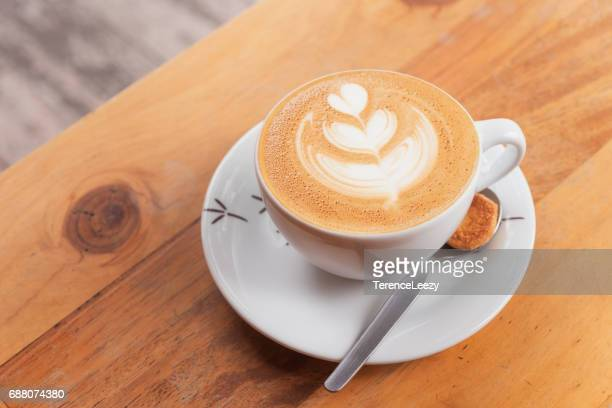 Cappuccino on a wooden table