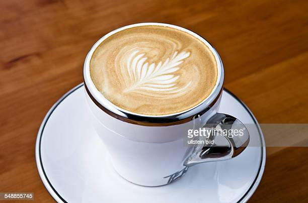 Cappuccino with decorated milk froth