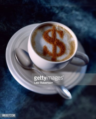 Cappuccino with dollar sign : Stock Photo