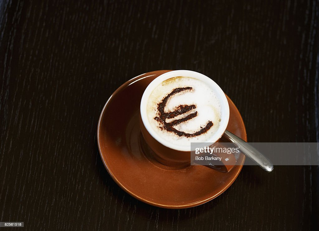 Cappuccino with euro motif in cocoa