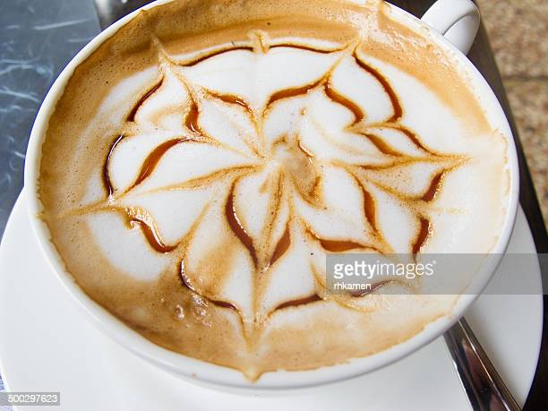 Cappuccino with flower pattern