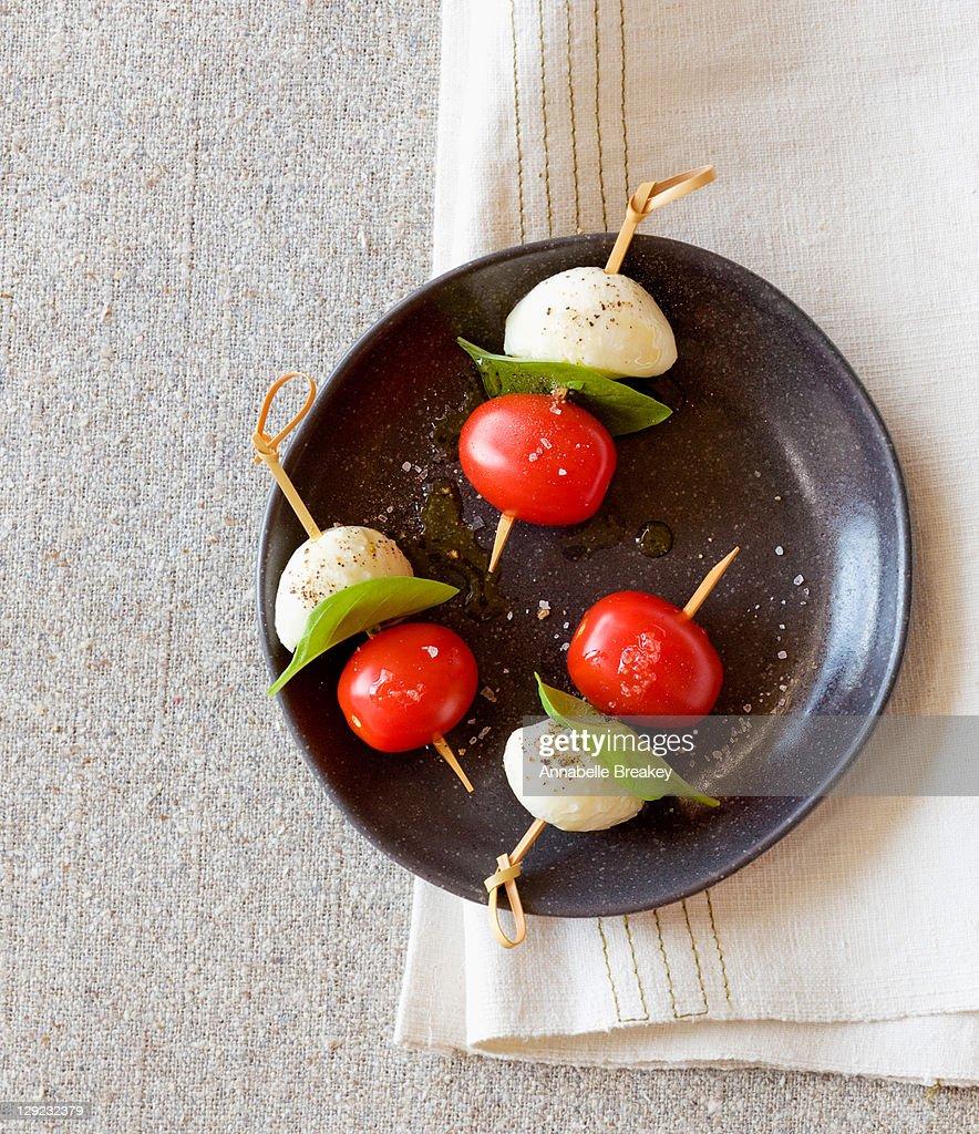 Caprese Tomato Basil Mozzarella Skewer Appetizer : Stock Photo