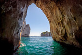 Blue grotto in Capri island, Italy. Inside cave view.