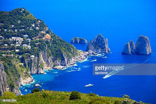 Capri panorama, Faraglioni, Tyrrhenian sea, Bay of Naples, Italy