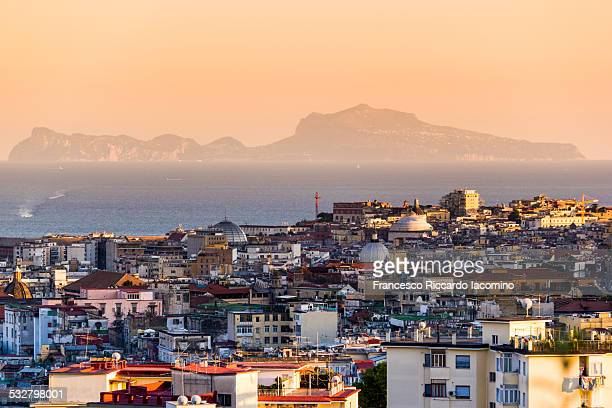 Capri, view from Naples, Italy