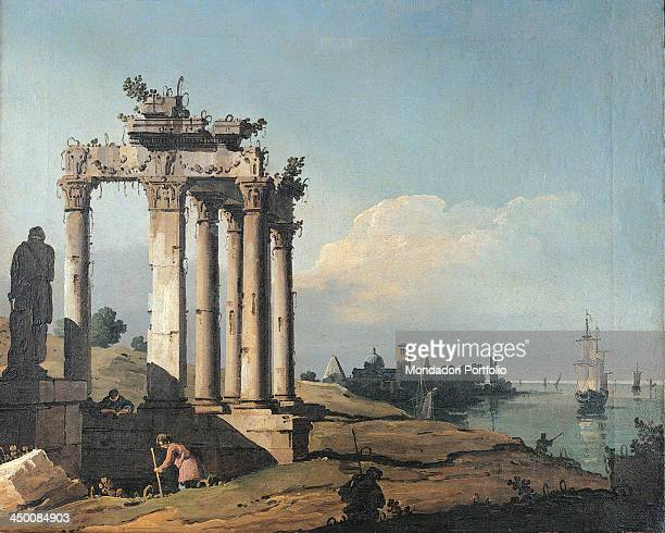 Capriccio with the Ruins of a Roman Temple on the Shores of a Lagoon by Bernardo Bellotto 1742 1743 18th Century oil on canvas 40 x 49 cm