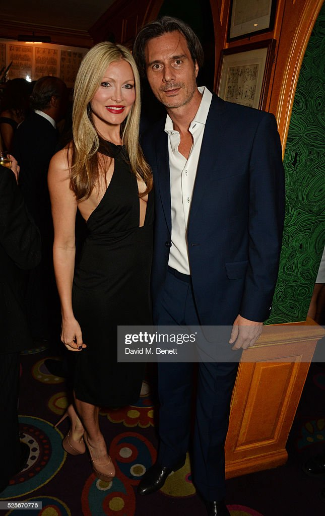 Caprice Bourret (L) and Ty Comfort attend a private dinner hosted by Fawaz Gruosi, founder of de Grisogono, at Annabels on April 28, 2016 in London, England.
