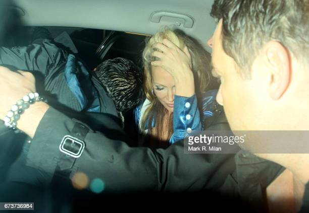 Caprice Bourret departs her 40th birthday and Halloween party at the Cuckoo Club on October 27 2011 in London England