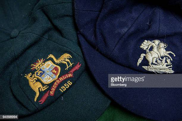 Caps belonging to Australian cricket greats Dennis Lillee and Keith Miller are displayed at the Charles Leski Auction House in Melbourne Australia on...