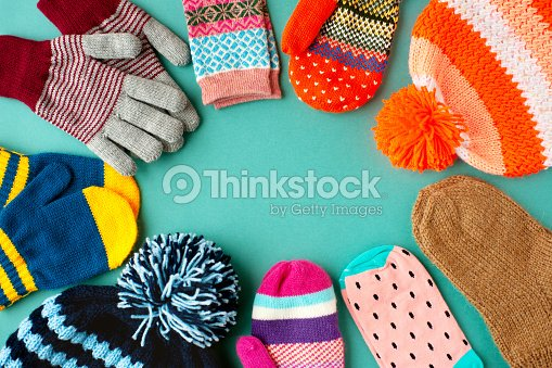 6f74256d8bf Caps Mittens Gloves And Socks Are Stacked In A Circle Stock Photo ...