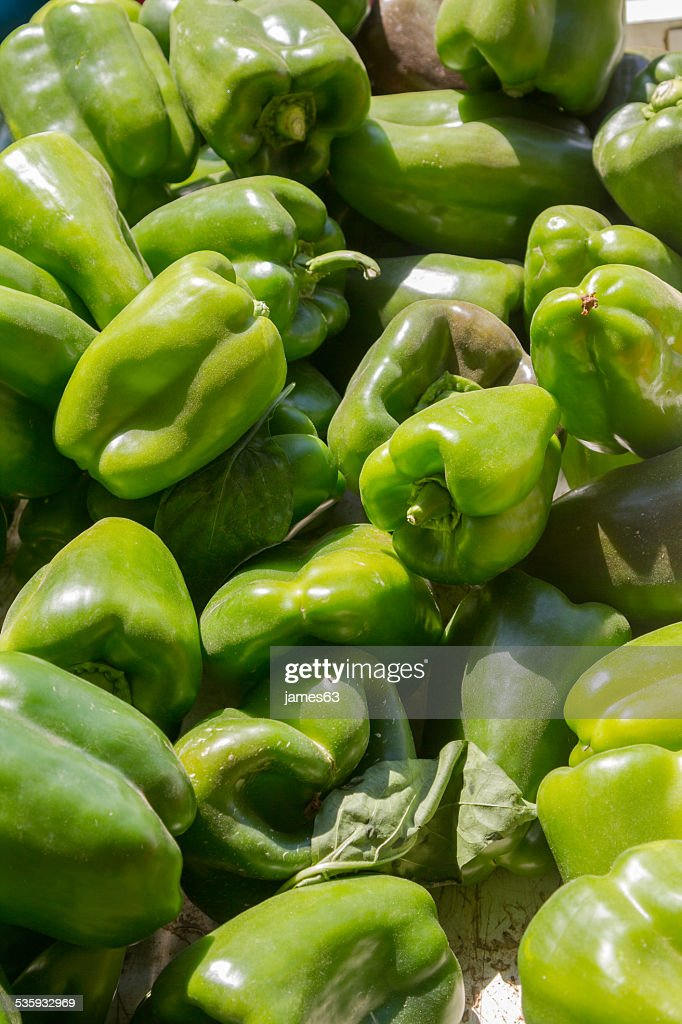 Capsicum fresh green peppers : Stock Photo