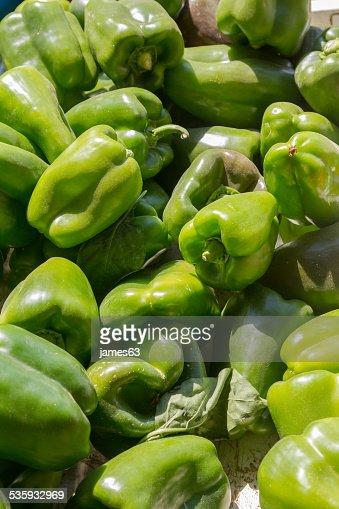 Capsicum fresh green peppers : Stock Photo
