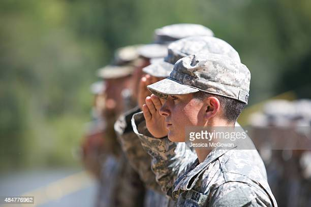 Capt Kristen Griest salutes during the graduation ceremony of the United States Army's Ranger School on August 21 2015 at Fort Benning Georgia Capt...