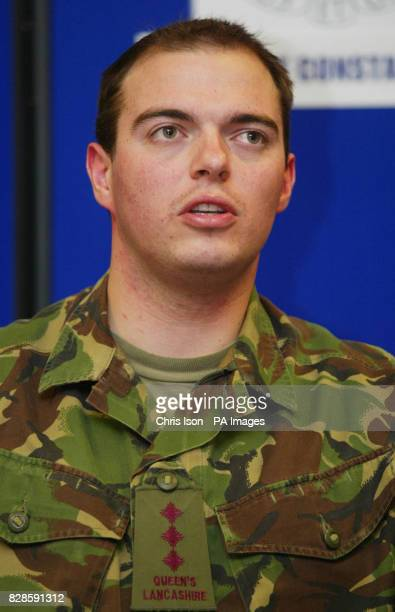 Capt Mark Moutarde of the 1st Battalion Queen's Lancashire Regiment at a press conference in Salisbur following the pickaxe attack on Lance Corporal...
