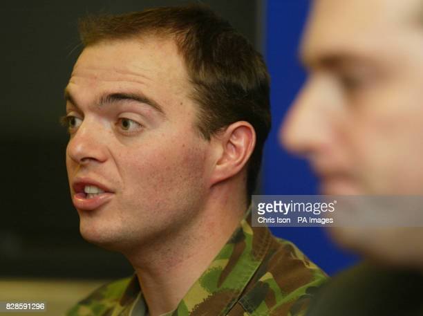 Capt Mark Moutarde of the 1st Battalion Queen's Lancashire Regiment and Wiltshire Police Detective Sergeant Andy Cross and hold a press conference in...