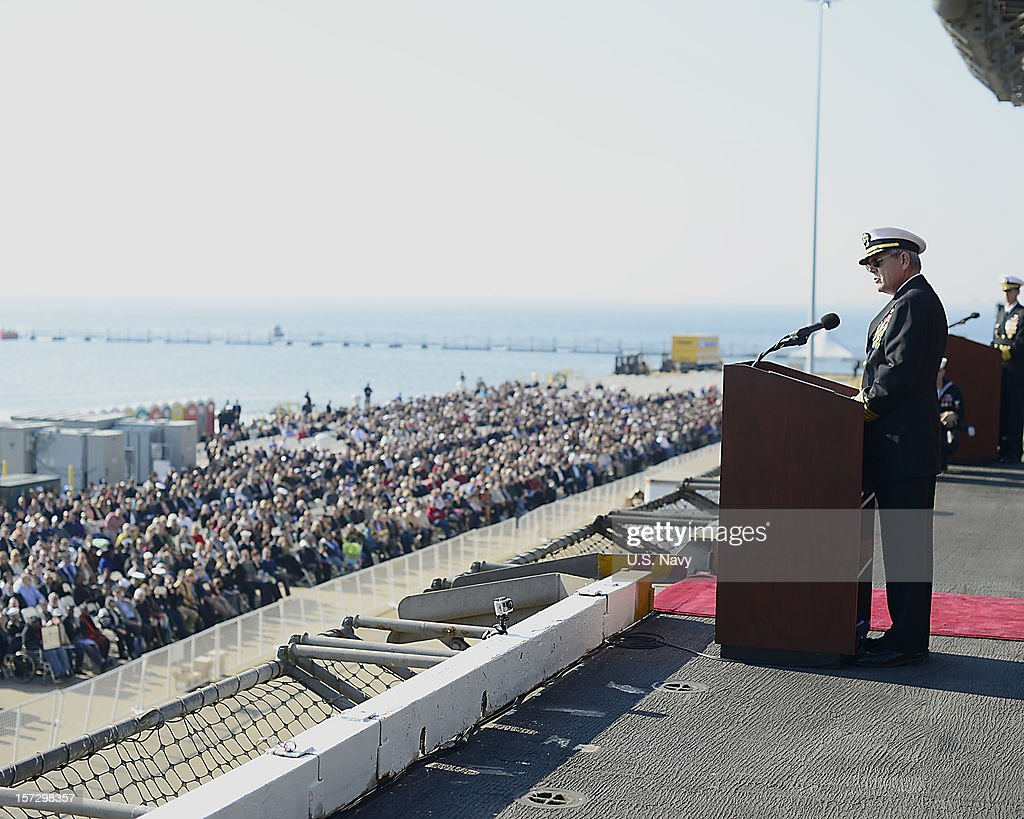 Capt. William C. Hamilton, commanding officer USS Enterprise (CVN 65) speaks during the ship's inactivation ceremony on December 1, 2012 in Norfolk Virginia.. Enterprise was commissioned in 1961 and is scheduled to celebrate her inactivation after 51 years of service.