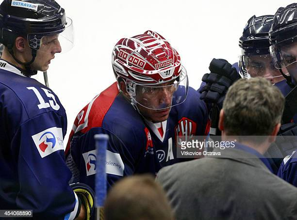 Captain #A Peter Huzevka of Vitkovice Ostrava listens to a teamtalk during the Champions Hockey League group stage game between Vitkovice Ostrave and...