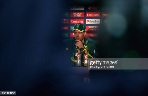 Captain AB de Villiers of South Africa talks to the media in the press conference during the ICC Champions Trophy Group B match between India and...