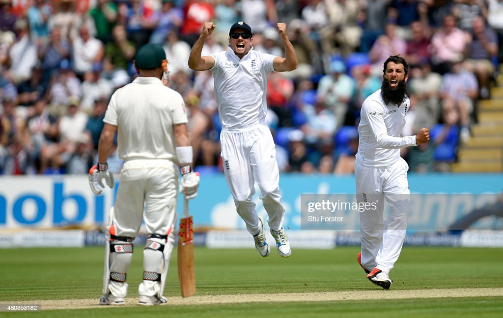 Captain <a gi-track='captionPersonalityLinkClicked' href=/galleries/search?phrase=Alastair+Cook+-+Cricket+Player&family=editorial&specificpeople=571475 ng-click='$event.stopPropagation()'>Alastair Cook</a> (c) and bowler <a gi-track='captionPersonalityLinkClicked' href=/galleries/search?phrase=Moeen+Ali&family=editorial&specificpeople=571813 ng-click='$event.stopPropagation()'>Moeen Ali</a> celebrate after dismissing Australia batsman <a gi-track='captionPersonalityLinkClicked' href=/galleries/search?phrase=David+Warner+-+Cricketer&family=editorial&specificpeople=4262255 ng-click='$event.stopPropagation()'>David Warner</a> during day four of the 1st Investec Ashes Test match between England and Australia at SWALEC Stadium on July 11, 2015 in Cardiff, United Kingdom.